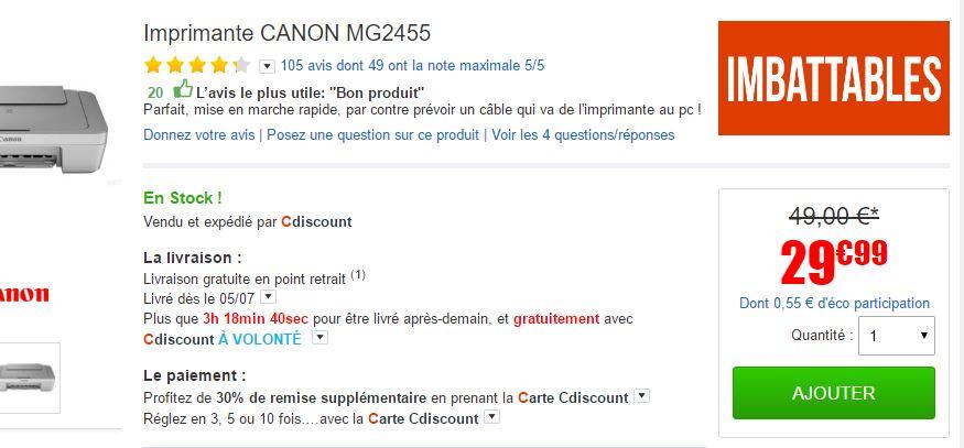Carte Cdiscount Utile.Bon Plan Imprimante Multifonction Mg2455 Canon 29 99 Livraison