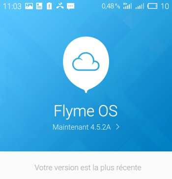 Flyme OS, ici en version 4.5.2 édition A (Chinoise internationale)
