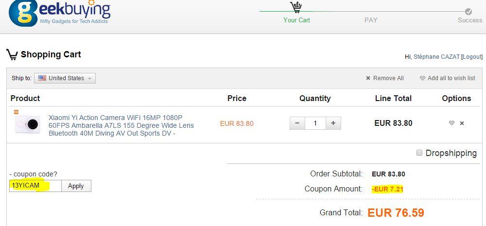 Cam ra sport xiaomi yi a7ls capteur sony 59 50 livr e - Code promo collectionnez les etoiles frais de port gratuit ...